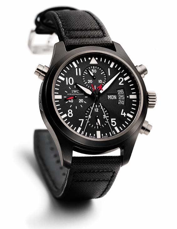 Replica IWC Pilot's Double Automatic Chronograph Edition Titanium Top Gun 46mm Watch Review