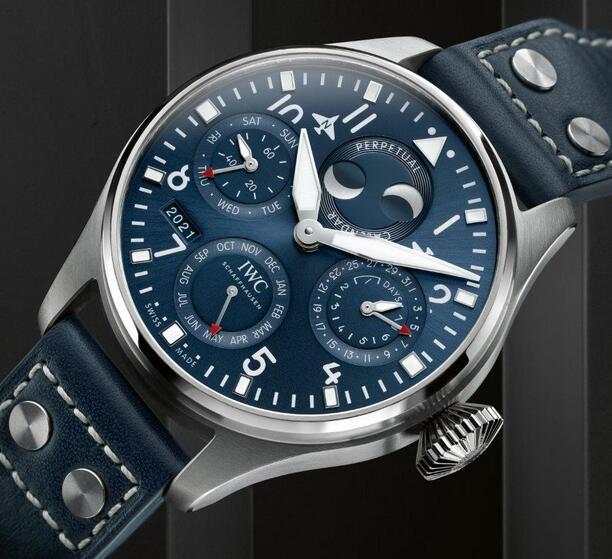Replica IWC Big Pilot Perpetual Calendar Blue Dial Steel 46.2mm IW503605 Watch Review 3